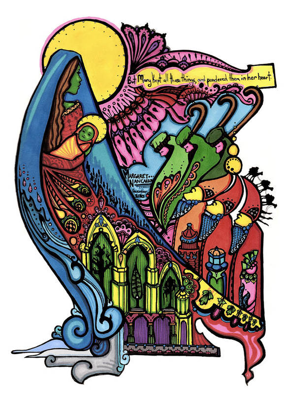 Sharpie Art Print featuring the drawing 33 - Madonna And Child In Sharpie by Maggie Nancarrow