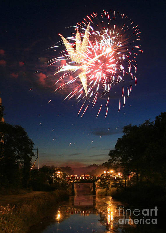 Fire Works Art Print featuring the photograph Magic In The Sky by Paula Guttilla