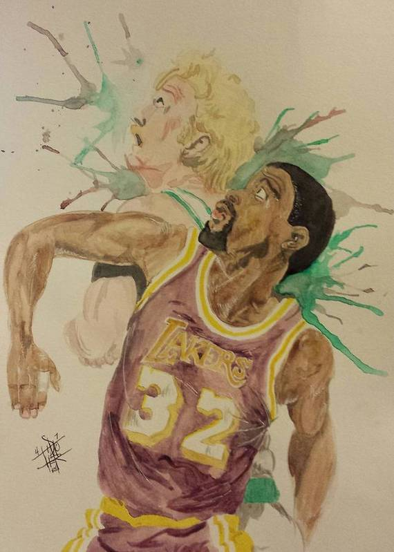 Magic Johnson Print featuring the painting Magicbird by DMo Herr
