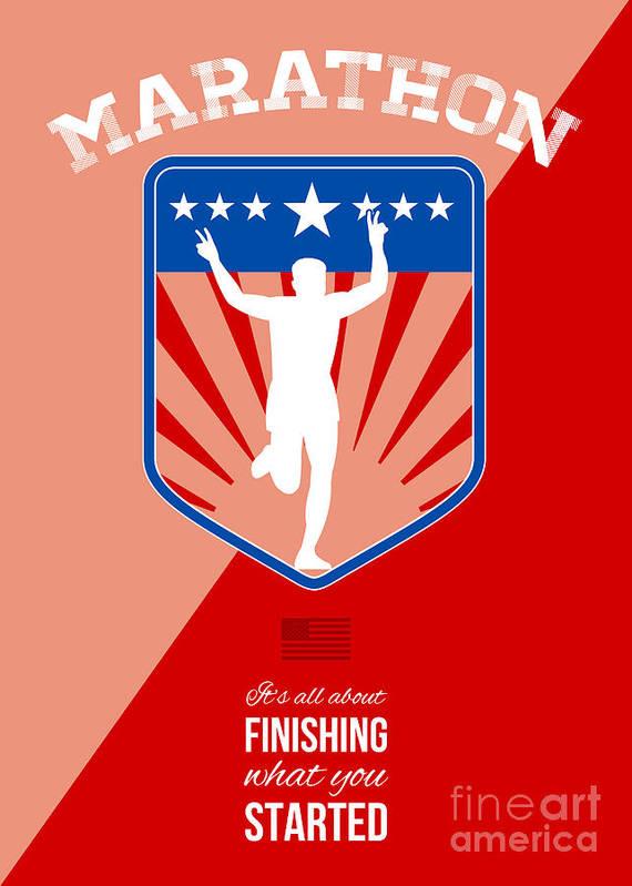 Poster Art Print featuring the digital art Marathon Runner Finish Run Poster by Aloysius Patrimonio