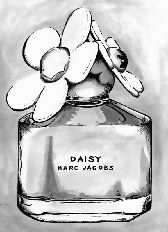 Art Print featuring the painting Marc Jacobs Daisy B Lack And White by Andy Thomas