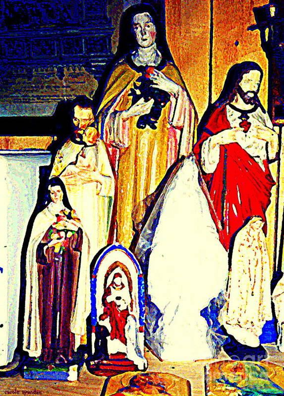 Catholic Art Art Print featuring the painting Mary Joseph And Jesus Vintage Religious Catholic Statues Patron Saints And Angels Cb Spandau Quebec by Carole Spandau