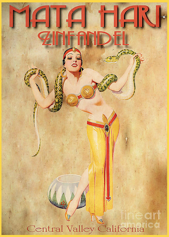 Wine Print featuring the painting Mata Hari Vintage Wine Ad by Cinema Photography