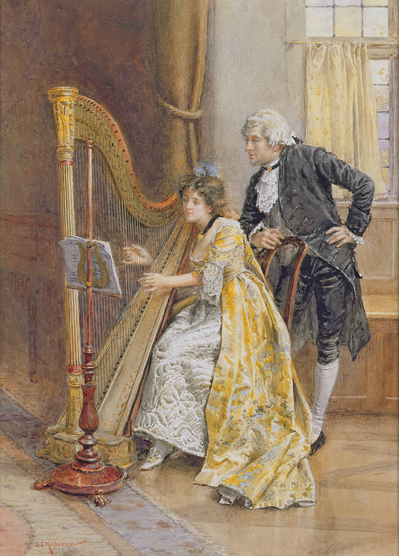 Memory; Playing; Instrument; Harp; Interior; Practice; Music Stand; Listening; Score Art Print featuring the painting Memorys Melody by George Goodwin Kilburne