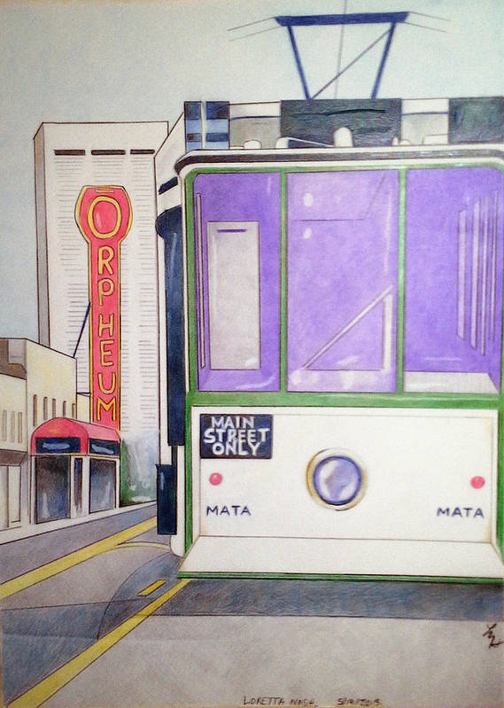 Landscape Art Print featuring the drawing Memphis Trolley by Loretta Nash