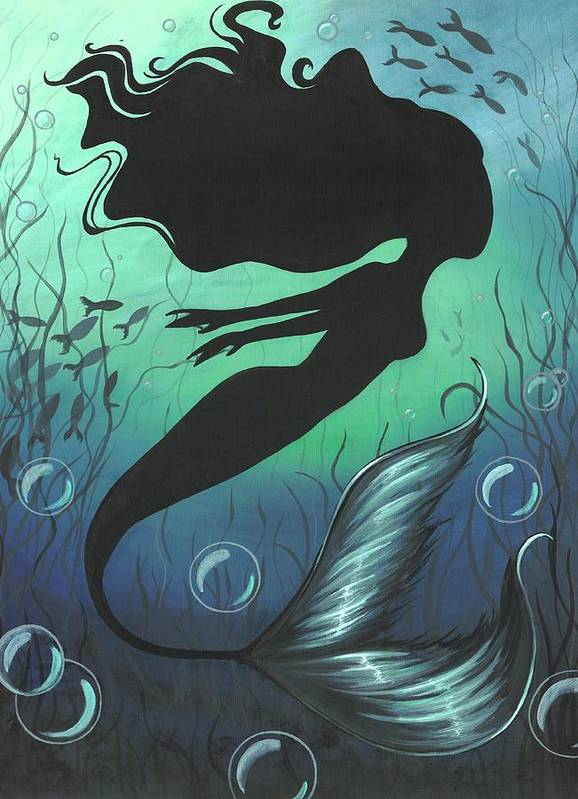 Mermaid Art Print featuring the painting Mermaid Of The Deep Sea by Elaina Wagner