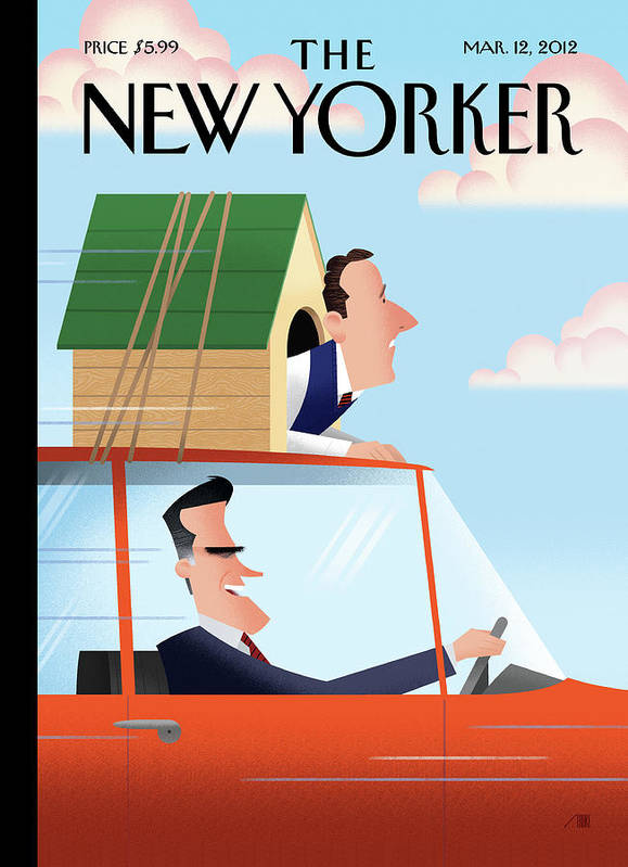 Election Art Print featuring the painting Mitt Romney Driving With Rick Santorum In A Dog by Bob Staake
