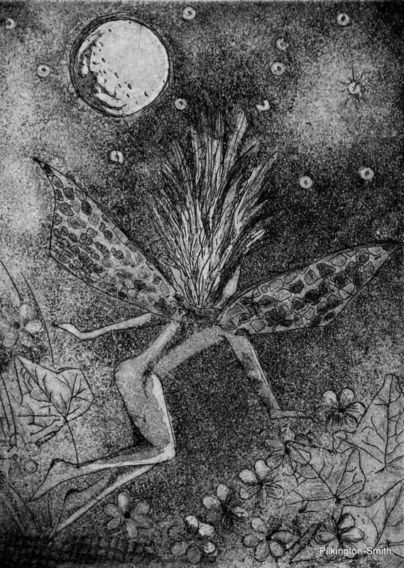 Fairy Art Print featuring the relief Moonlit Path by Stacey Pilkington-Smith