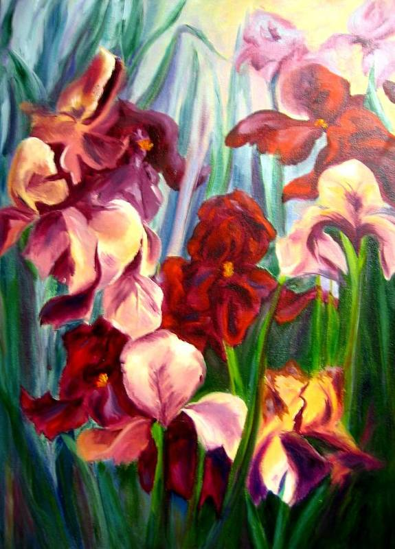 Flowers Art Print featuring the painting Morning Iris by Jeff Troeltzsch