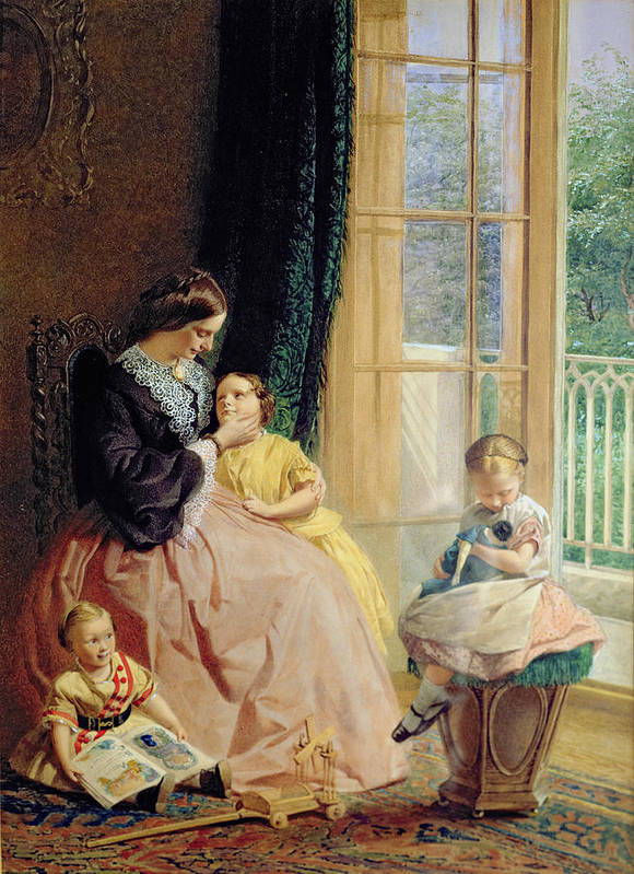 Family Group Print featuring the painting Mrs Hicks Mary Rosa And Elgar by George Elgar Hicks