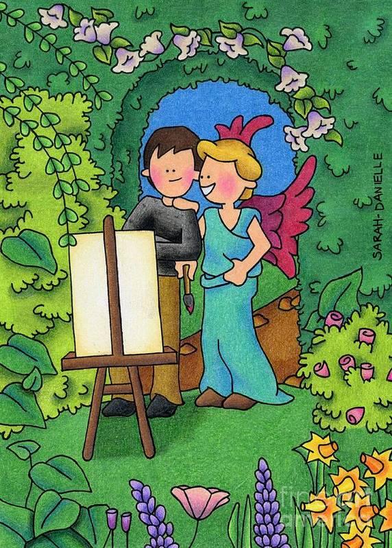 Sarah Batalka Art Print featuring the drawing Muse-angel by Sarah Batalka