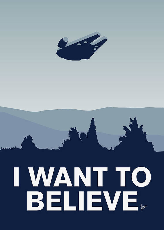 Classic Art Print featuring the digital art My I Want To Believe Minimal Poster-millennium Falcon by Chungkong Art