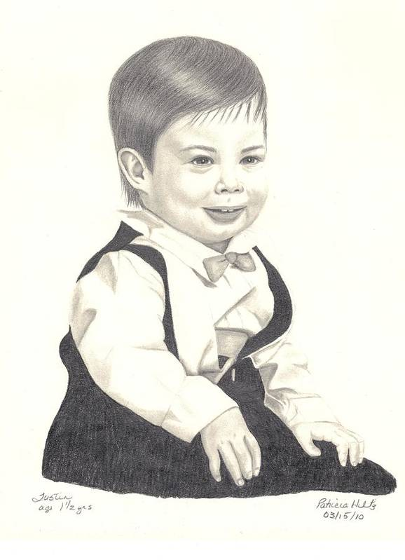 Little Boy Art Print featuring the drawing My Little Boy by Patricia Hiltz