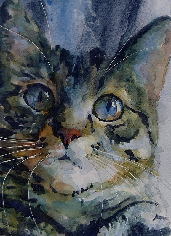 Tabby Art Print featuring the painting Mystery Tabby by Paul Lovering