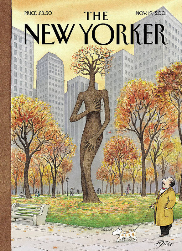 Exposed Central Park Fall Autumn Season Seasonal Nude Nudity Naked Embarrassed Shame Shamed Sex Tree Trees Arbor Female Ent Ents Harry Bliss Hbl Hbl Artkey 51232 Art Print featuring the painting New Yorker November 19th, 2001 by Harry Bliss