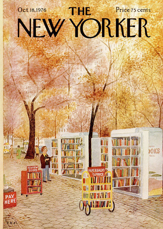 Strand Art Print featuring the painting New Yorker October 18th, 1976 by Charles E Martin