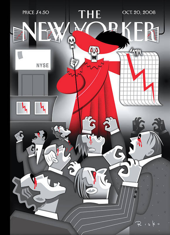 Death Art Print featuring the painting New Yorker October 20th, 2008 by Robert Risko