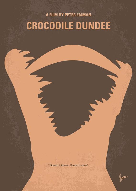 Crocodile Art Print featuring the digital art No210 My Crocodile Dundee Minimal Movie Poster by Chungkong Art