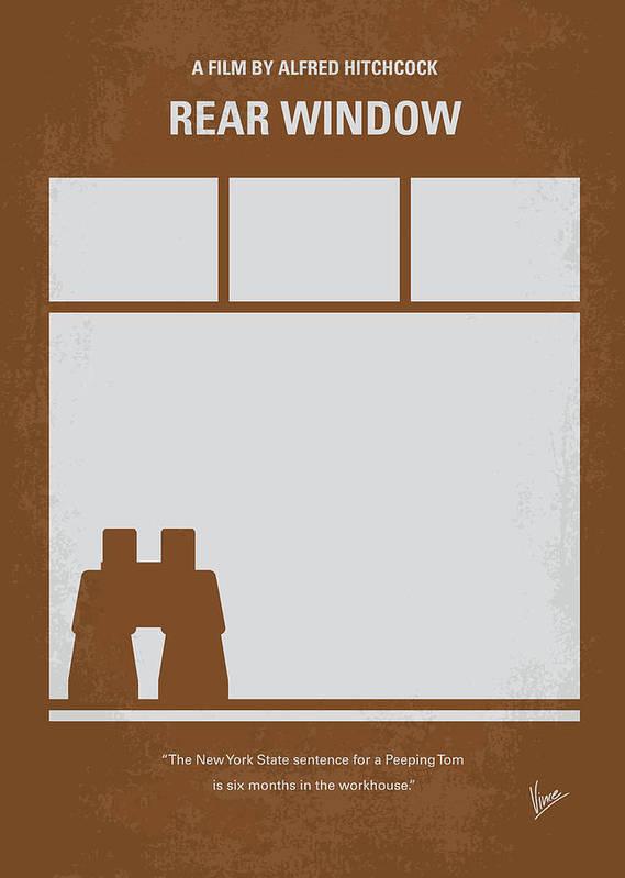 Rear Print featuring the digital art No238 My Rear Window Minimal Movie Poster by Chungkong Art