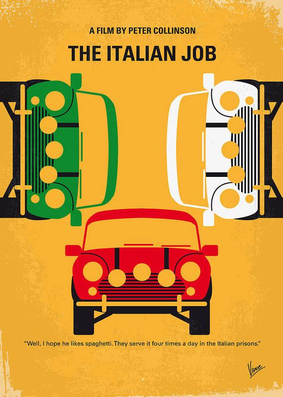 The Art Print featuring the digital art No279 My The Italian Job Minimal Movie Poster by Chungkong Art