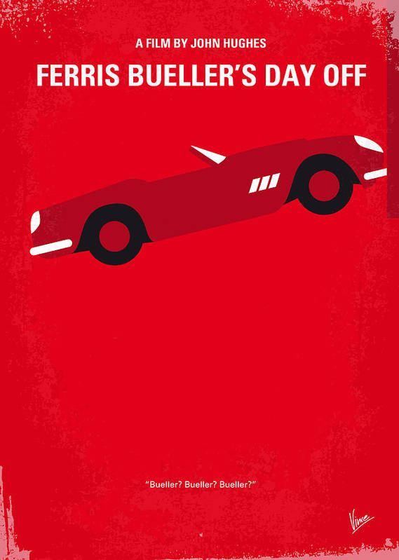 Ferris Art Print featuring the digital art No292 My Ferris Bueller's Day Off Minimal Movie Poster by Chungkong Art