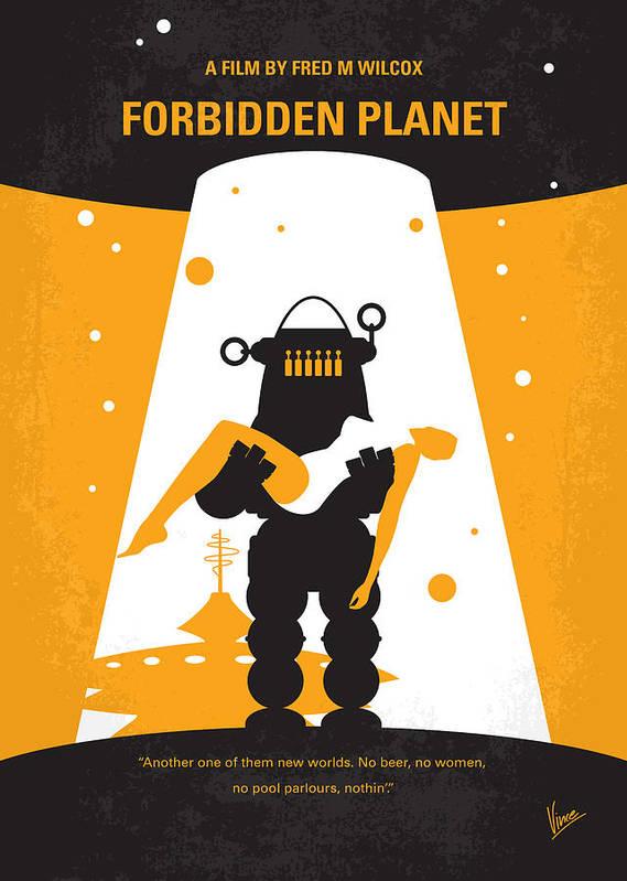 Forbidden Art Print featuring the digital art No415 My Forbidden Planet Minimal Movie Poster by Chungkong Art