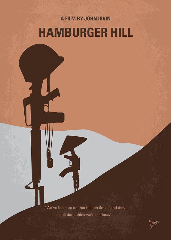 Hamburger Art Print featuring the digital art No428 My Hamburger Hill Minimal Movie Poster by Chungkong Art