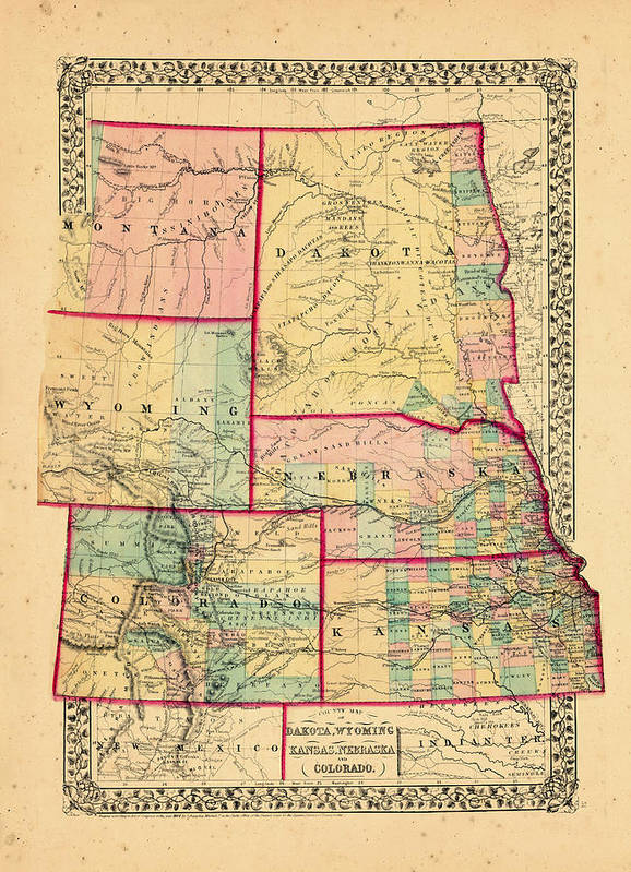 North America, Colorado, Kansas, Montana, Nebraska, North Dakota, South  Dakota, Wyoming, 1870, Map, County Map Of Dakota, Nebraska And Colorado Art  ...
