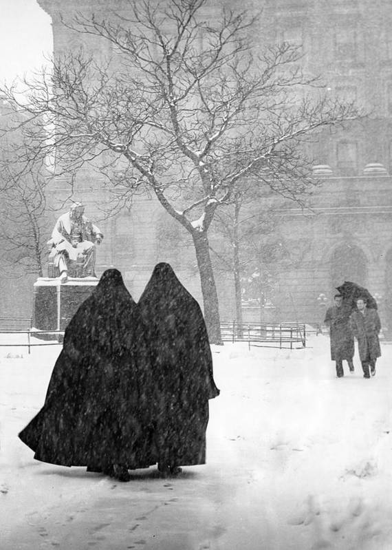 Christmas Art Print featuring the photograph Nuns In Snow New York City 1946 by Melissa A Benson