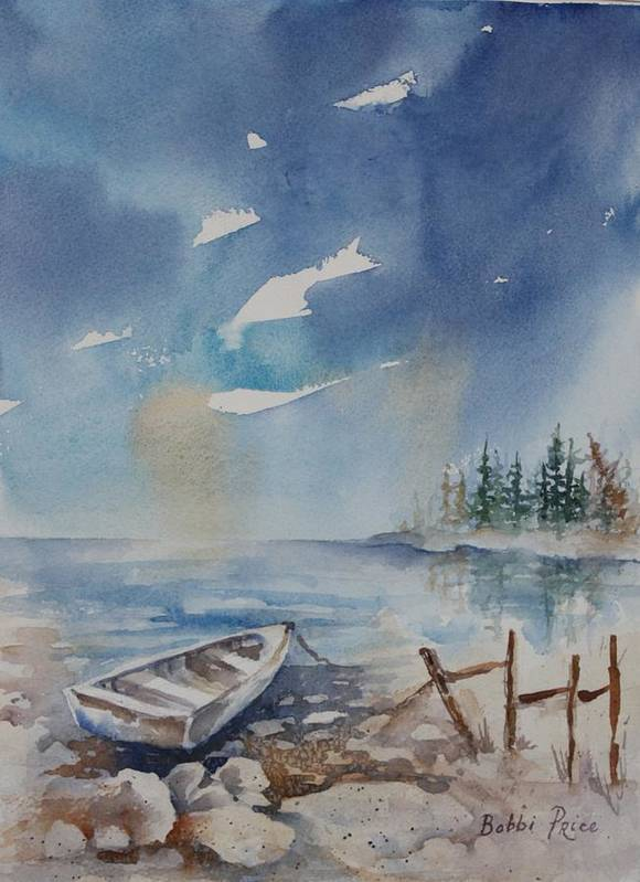 Seascape Art Print featuring the painting On The Rocks by Bobbi Price