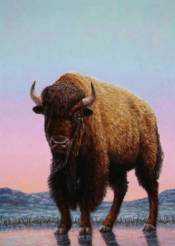 Buffalo Art Print featuring the painting On Thin Ice by James W Johnson