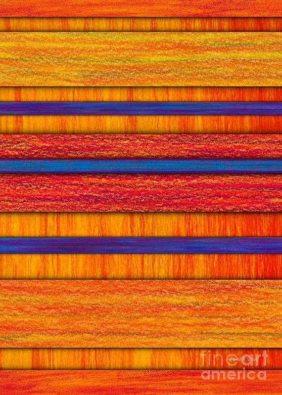 Colored Pencil Art Print featuring the painting Orange And Blueberry Bars by David K Small