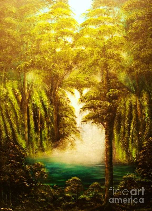 Forest Art Print featuring the painting Hidden Falls-original Sold-- Buy Giclee Print Nr 27 Of Limited Edition Of 40 Prints by Eddie Michael Beck