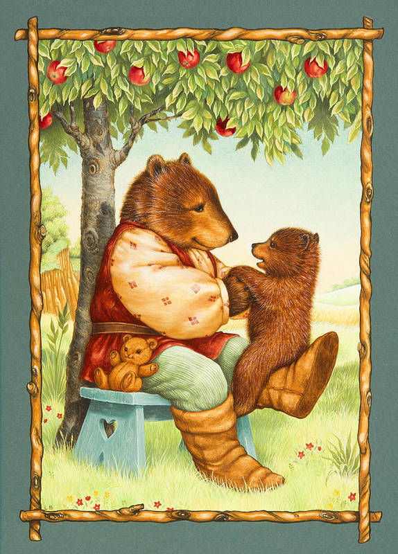 Papa Bear Art Print featuring the painting Papa Bear by Lynn Bywaters