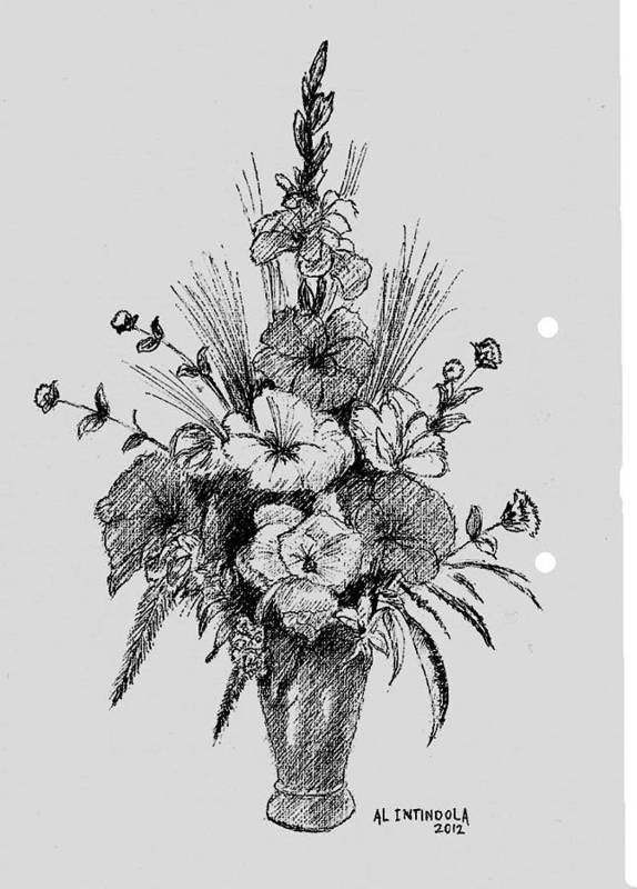Pen And Ink Flowers Art Print by Al Intindola