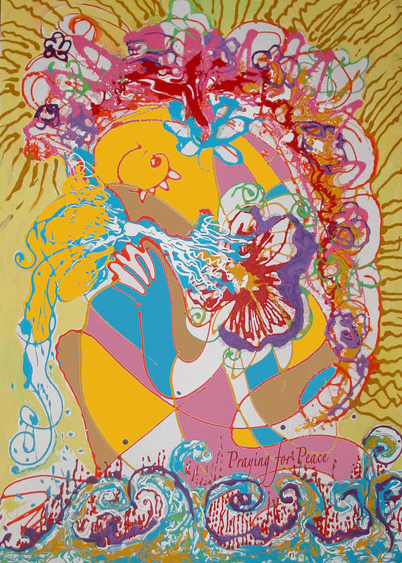 Peace Art Print featuring the painting Praying For Peace by Anne Cameron Cutri