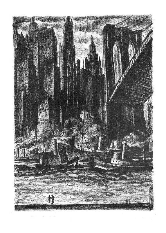 100654 Rme Reginald Marsh (couple Surveying The New York City Harbor.) Aesthetics Architecture Beauty Buildings Cities City Cityscape Couple East Harbor - Isn't Manhattan New Ny Nyc Regional River Rivers Skyscraper Skyscrapers Surveying Urban York Art Print featuring the drawing Pretty, - Isn't It? by Reginald Marsh