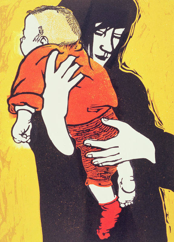 Mother; Child; Embrace; Protection Art Print featuring the painting Red Sock by Carol Walklin