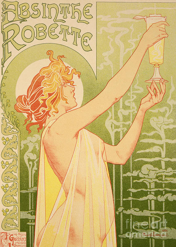 Advert; Advertisement; Alcohol; Liqueur; Alcoholic Drink; Beverage; Art Nouveau; Female; Holding Up A Glass Art Print featuring the painting Reproduction Of A Poster Advertising 'robette Absinthe' by Livemont