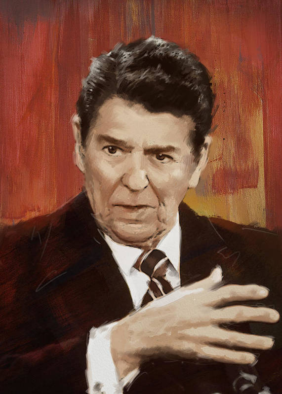 Rancho Del Cielo Art Print featuring the painting Ronald Reagan Portrait 2 by Corporate Art Task Force