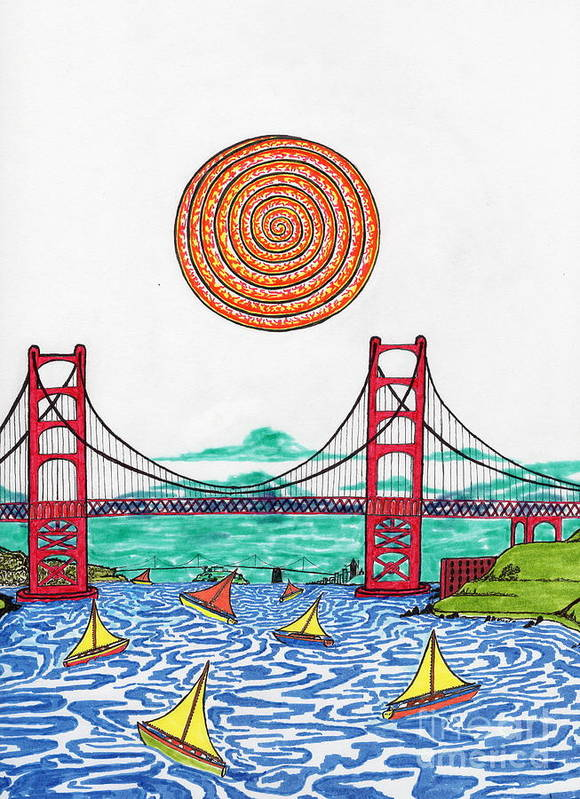 San Francisco Art Print featuring the drawing Sailing On San Francisco Bay by Michael Friend