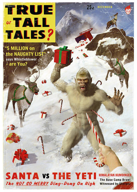 Pulp Art Print featuring the painting Santa Vs The Yeti by Alex Tomlinson