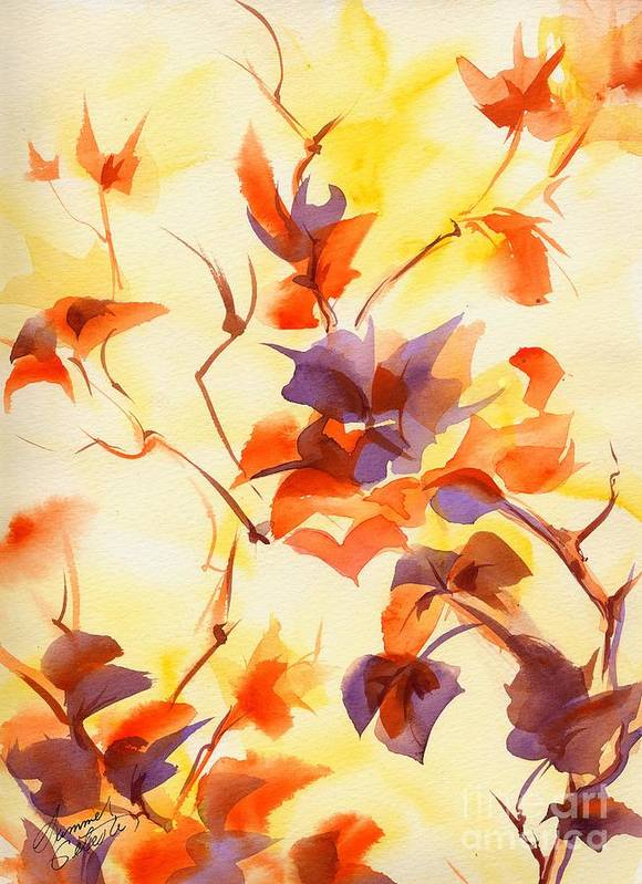Landscape Print featuring the painting Shadow Leaves by Summer Celeste