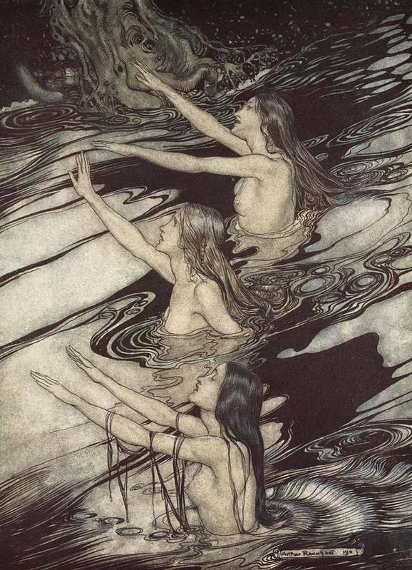 Der Ring Des Nibelungen; The Ring Of The Nibelung; Myth; Legend; Opera; The Ring Cycle; Richard Wagner; Norse Mythology; Female; Characters; Rhinemaidens; Illustration; Waving; Swimming; The Twilight Of The Gods; River Rhine; Water; Water-nymphs; Nymphs Art Print featuring the drawing Siegfried Siegfried Our Warning Is True Flee Oh Flee From The Curse by Arthur Rackham
