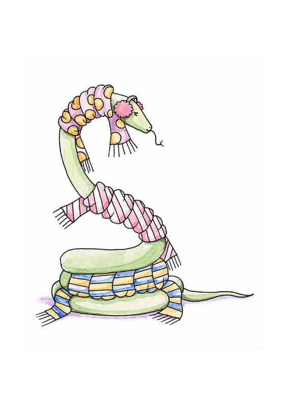Snake Art Print featuring the painting Snake Wearing A Scarf by Christy Beckwith
