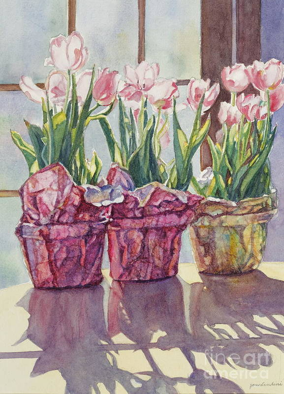 Tulips In Pots Art Print featuring the painting Spring Shadows by Jan Landini
