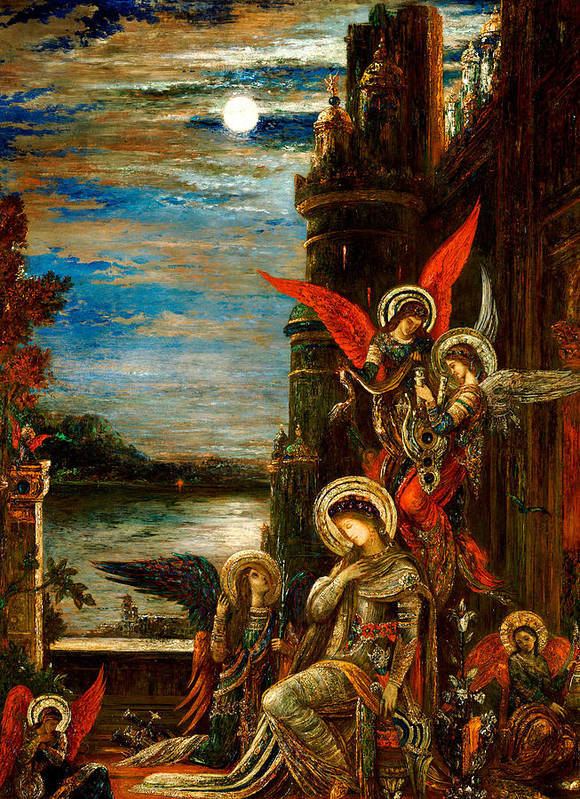 Religion; Religious; Angel; Female; Symbolism; Moon; Dusk; Tower Print featuring the painting St Cecilia The Angels Announcing Her Coming Martyrdom by Gustave Moreau
