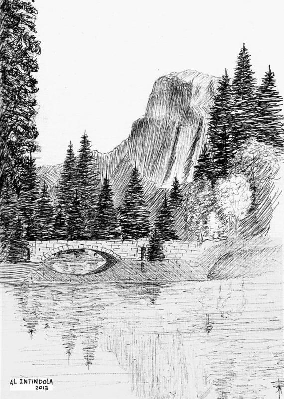 Mountain Scene Art Print featuring the drawing Stone Bridge by Al Intindola