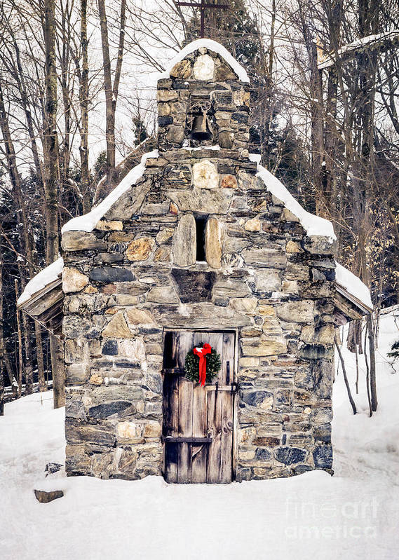 Chapel Print featuring the photograph Stone Chapel In The Woods Trapp Family Lodge Stowe Vermont by Edward Fielding