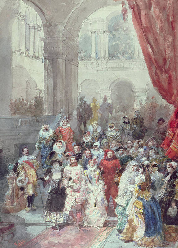 Study For A Costume Ball Given By The Princess Of Sagan Art Print featuring the painting Study For A Costume Ball Given By The Princess Of Sagan by Eugene-Louis Lami